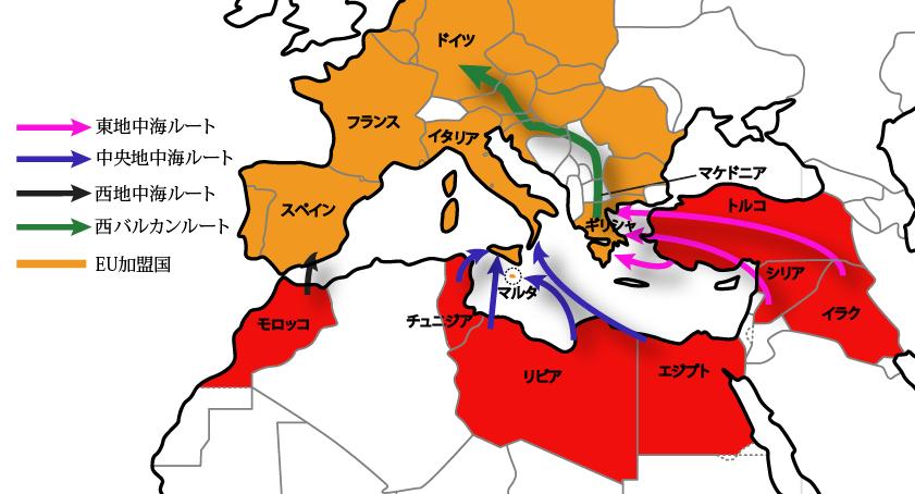 難民の避難ルート