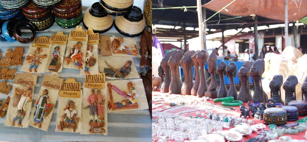 インレー湖の土産物屋はいくつもの「首長族グッズ」を売る。左はマグネット、右は木彫りの置物。パダウン族はどんな思いでこの光景を見ているのだろう