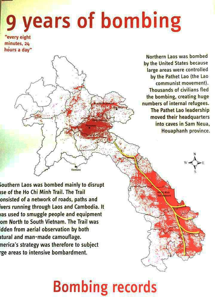 アメリカ軍によるラオス国内の爆撃地を示すマップ。北部の爆撃の中心地にシェンクワン県がある。ラオス南部はベトナム戦争中、「ホーチミン・ルート(北ベトナム軍の補給ルート)」が通っていたことから広範囲に爆撃された