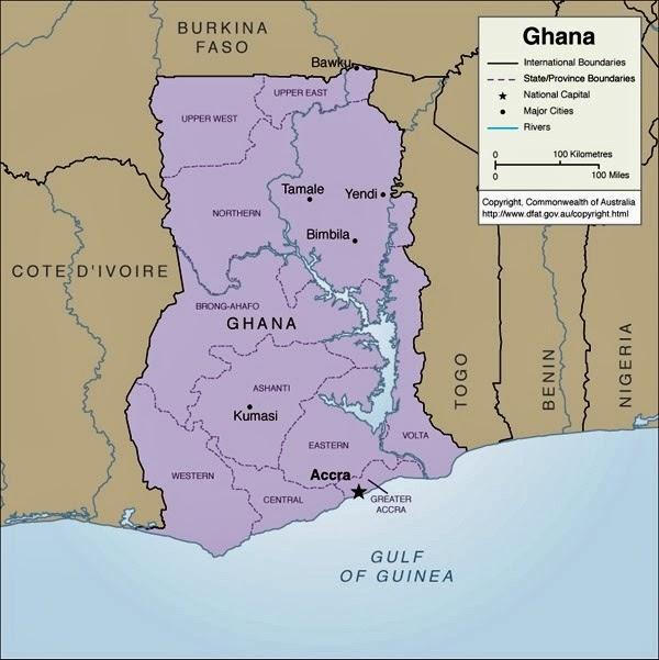 ガーナの地図。紛争が起こっているボク(Bawku)は右上にある