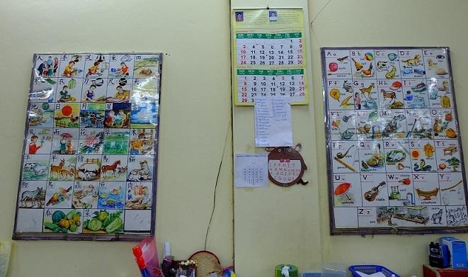 中国語と英語の文字練習表。さまざまな絵柄のものが貼られている