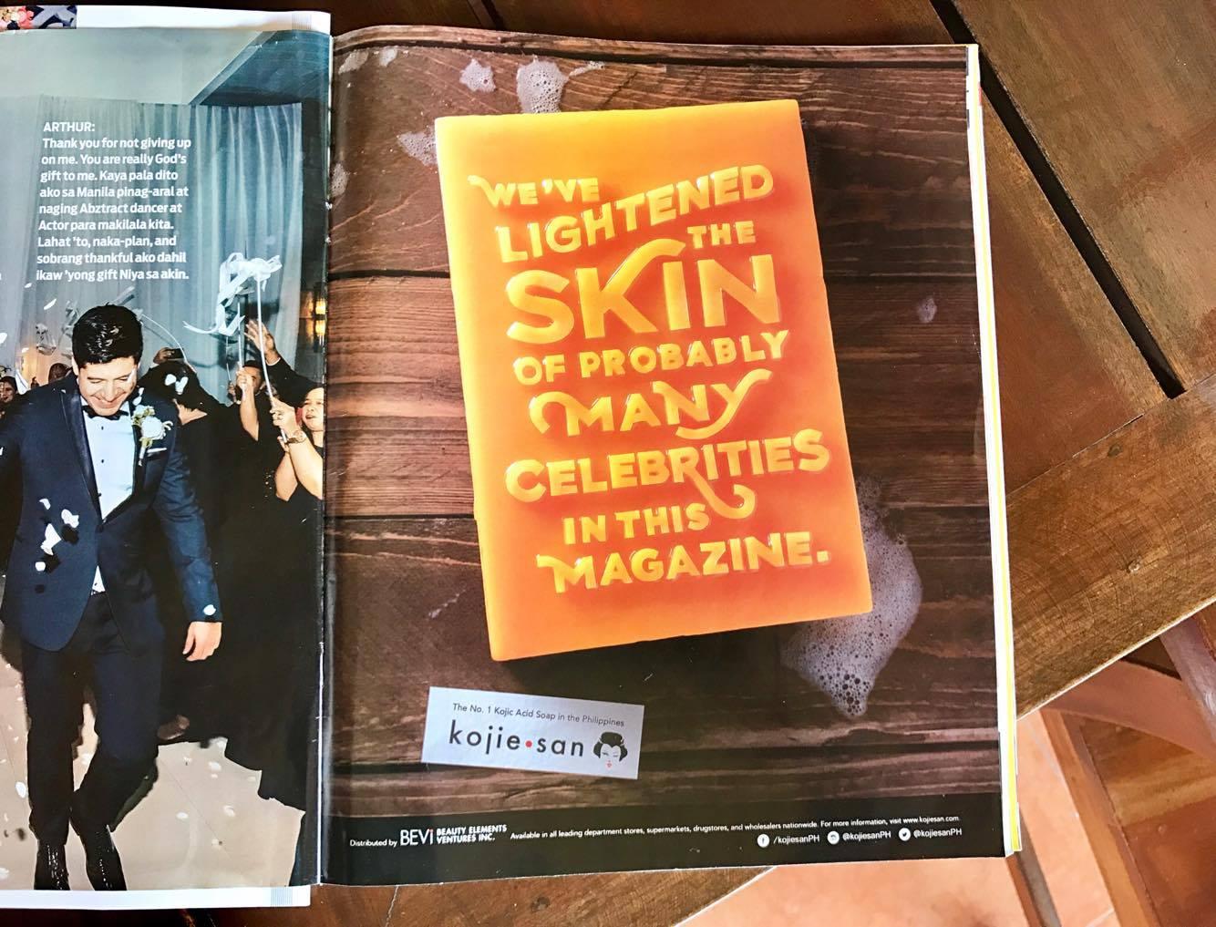 「この雑誌に載っている多くのセレブの肌は私たちが白くしたかもしれない」(フィリピンの有名ファッション雑誌「YES!」に載っていた広告から)