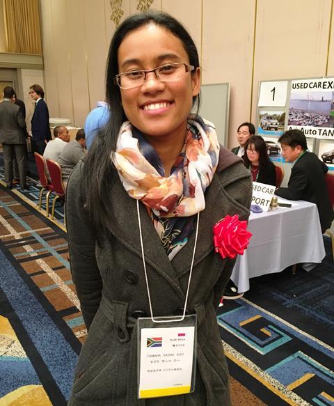 南アフリカ出身で同志社大学に留学中のタマラ・サシャ・スーさん。日本の建築技術を学び、母国の発展に貢献することが夢だという