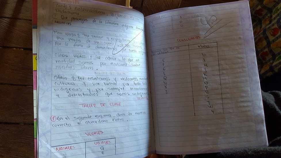 チャミ語が書いてある子どもの勉強ノート。アルファベットにはないチャミ語の発音にあわせた特有の文字が並ぶ