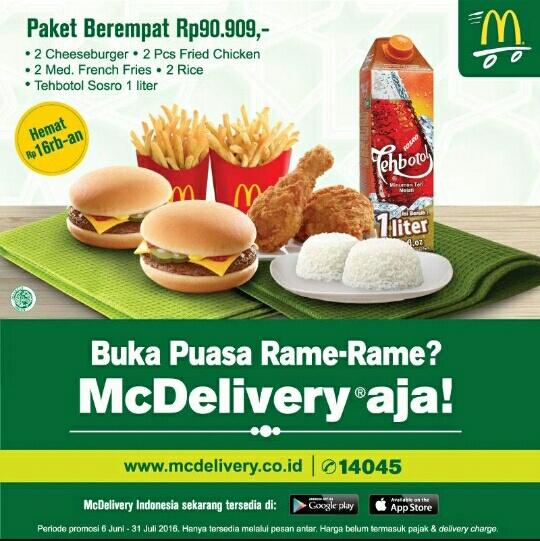インドネシアのマクドナルドが提供する大人数向けの断食明けセット。ライス2つ、チーズバーガー2つ、フライドポテト2つ、フライドチキン2つ、アイスティー1リットルで、値段が約9万ルピア(約700円)。通常より1万6000ルピア(約130円)安い