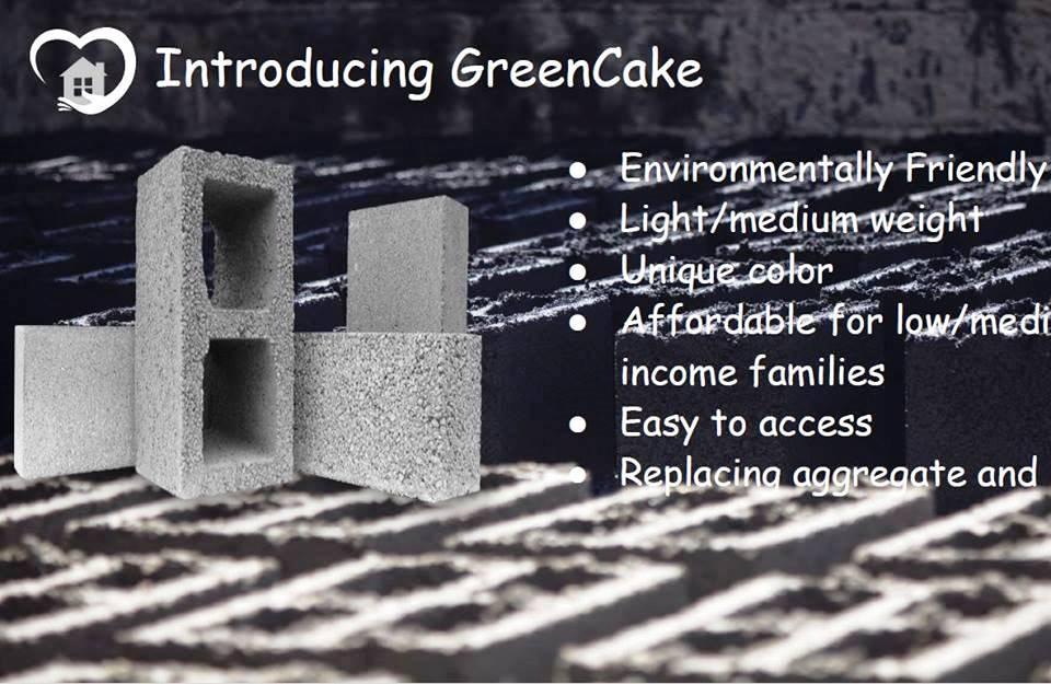 「グリーンケーキ」とマジッドさんが名付けたコンクリートブロック。イスラエル軍のガザ侵攻で廃墟となった建物のガレキを燃やした灰を使い、ガザの再建を目指す(マジッドさんのプレゼンスライドより)