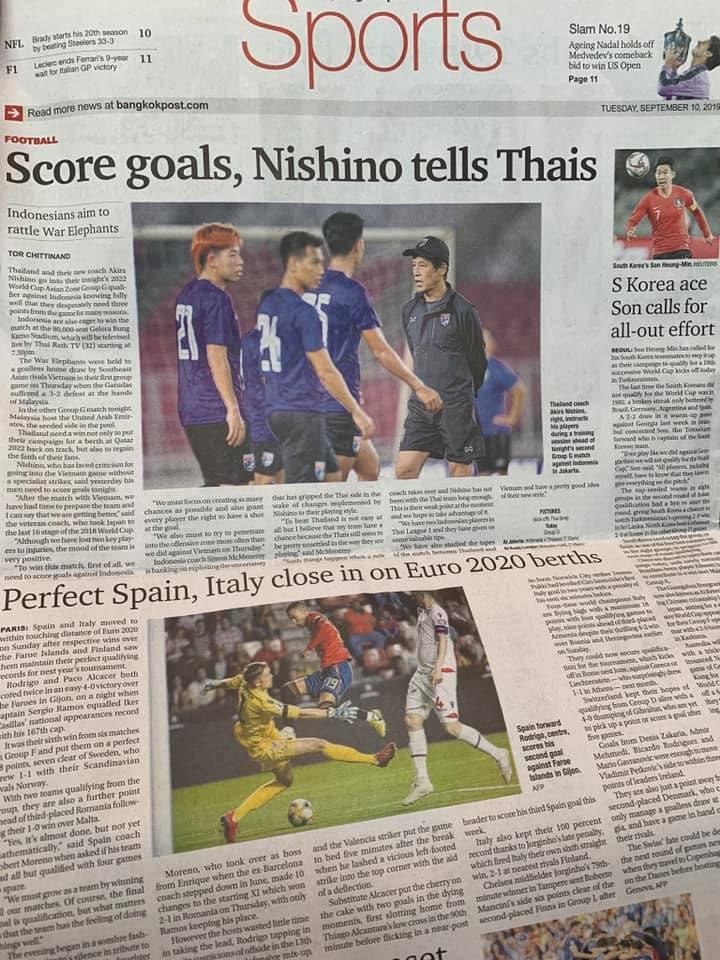 タイの英字紙バンコクポストは9月10日付の紙面で、タイ代表チームの西野新監督を大きく取り上げた。スポーツ面の一面に「Nishino」の文字が書いてあった