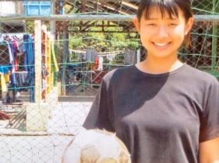 「スポーツを通じて子どもたちに何かしたい」と語る文教大学3年の及川智冬さん(ミャンマー・ヤンゴンの養育施設ドリームトレインで撮影)