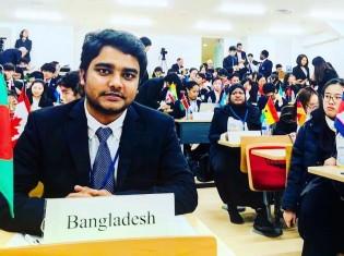 バングラデシュ出身の筑波大留学生ムハンマド・ソハヌール・ラフマン・ソハンさん(23)。現在は修士課程の1年に所属。写真は2018年に模擬国連にバングラデシュ代表として参加したときのもの