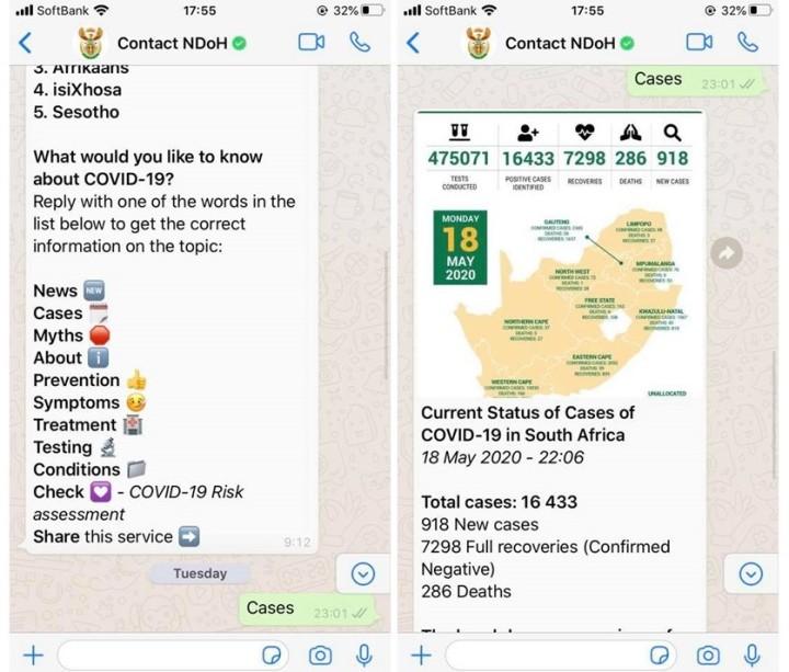 南アフリカの政府とNGOが共同開発した、新型コロナの最新情報を知らせるシステムの画面。ワッツアップを使って簡単に操作できる