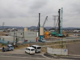 H.I.S.Super電力が角田市で進めるパーム油発電所の建設現場(2019年に撮影)。2020年9月に建設工事はほぼ終わり、試運転を始める予定だという(写真提供:FoE Japan)