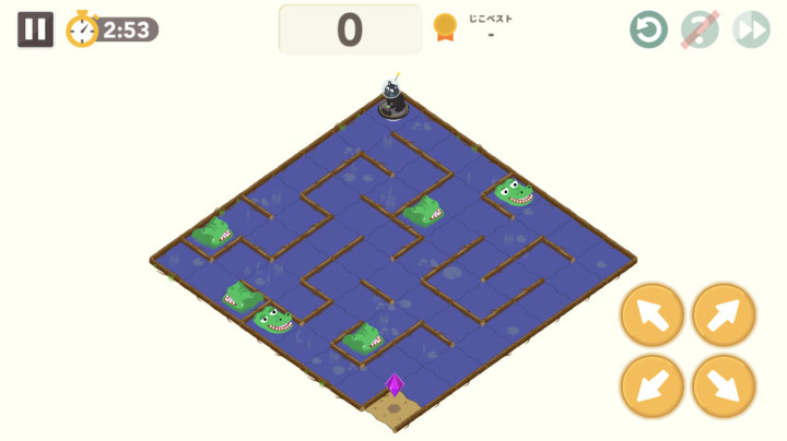 シンクシンクのアプリに入っているゲームのひとつ「みはりワニめいろ」の画面。ワニに捕まらないように、最短距離の道のりを自分で考えて進む。遊びながら楽しく学べるので、子どもも夢中になる