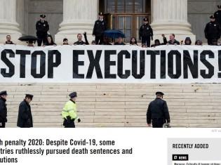 アムネスティが出した報告書「2020年の死刑状況:新型コロナウイルスが猛威を振るう中で死刑に固執する国々」の表紙